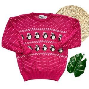 Vintage Pink Penguin Polkadot Ugly Sweater Size L